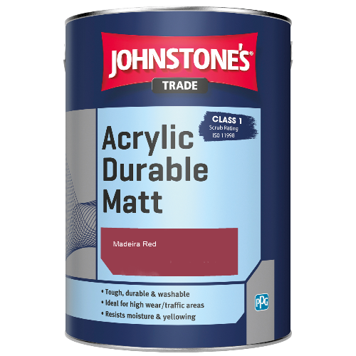 Johnstone's Trade Acrylic Durable Matt - Madeira Red - 2.5ltr